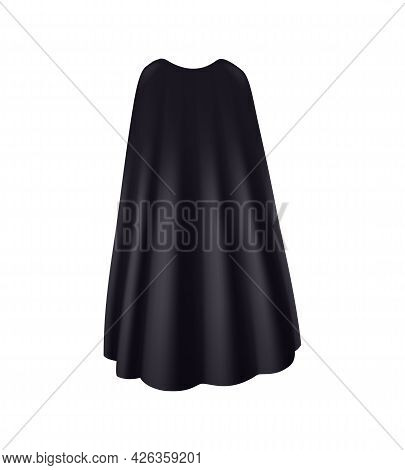 Realistic Black Mantle With Folds Back View Vector Illustration