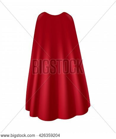 Realistic Flowing Red Mantle Back View Vector Illustration