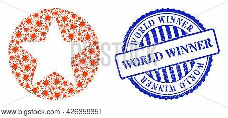 Viral Mosaic Rounded Star Icon, And Grunge World Winner Seal. Rounded Star Mosaic For Pandemic Templ