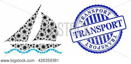 Cell Collage Sailing Icon, And Grunge Transport Stamp. Sailing Collage For Epidemic Images, And Text