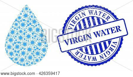 Bacilla Mosaic Water Drop Icon, And Grunge Virgin Water Seal Stamp. Water Drop Collage For Isolation