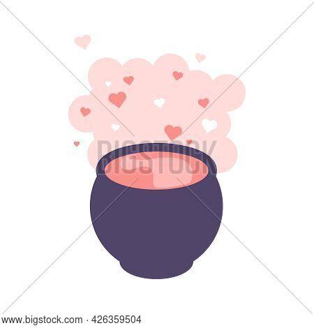 Flat Cauldron With Love Potion Vector Illustration