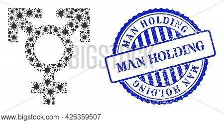 Virulent Collage Polyandry Sex Symbol Icon, And Grunge Man Holding Seal. Polyandry Sex Symbol Collag