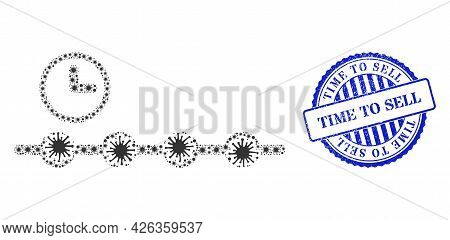 Bacterium Collage Timeline Icon, And Grunge Time To Sell Seal Stamp. Timeline Collage For Isolation
