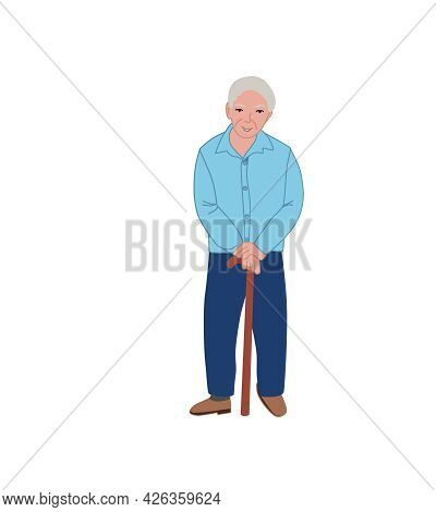 Grandfather Leans On A Stick, A Crutch. . Vector Illustration Of An Elderly Man Isolated On A White