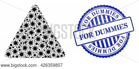 Contagious Collage Rounded Triangle Icon, And Grunge For Dummies Seal Stamp. Rounded Triangle Collag