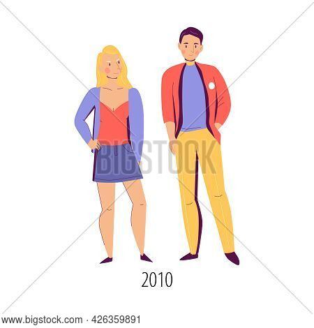 Couple Dressed In 2010 Fashion Clothes Flat Isolated Vector Illustration