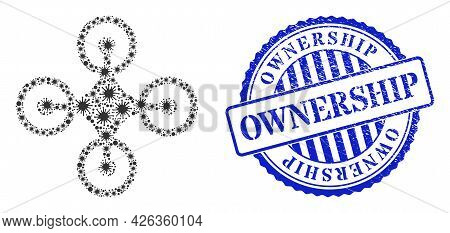 Coronavirus Mosaic Quadrocopter Icon, And Grunge Ownership Stamp. Quadrocopter Mosaic For Medical Im