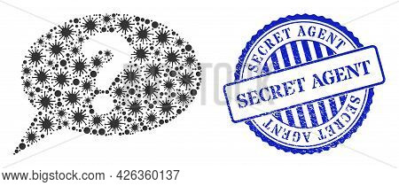 Virus Collage Unknown Message Icon, And Grunge Secret Agent Seal Stamp. Unknown Message Collage For