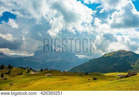Summer Landscape Of Mount Langkofel, South Tirol, Dolomites Mountains, Italy