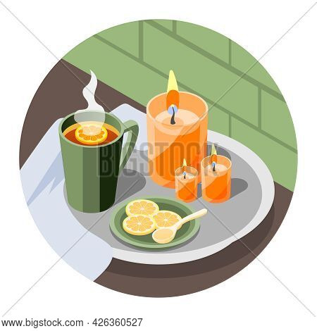 Isometric Hygge Lifestyle Round Composition With Hot Lemon Tea And Burning Candles 3d Vector Illustr