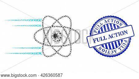 Coronavirus Mosaic Rush Atom Icon, And Grunge Full Action Seal Stamp. Rush Atom Collage For Breakout