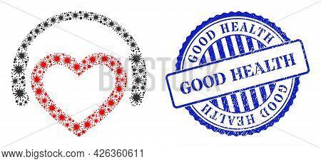 Virulent Mosaic Romantic Dj Headphones Icon, And Grunge Good Health Stamp. Romantic Dj Headphones Mo