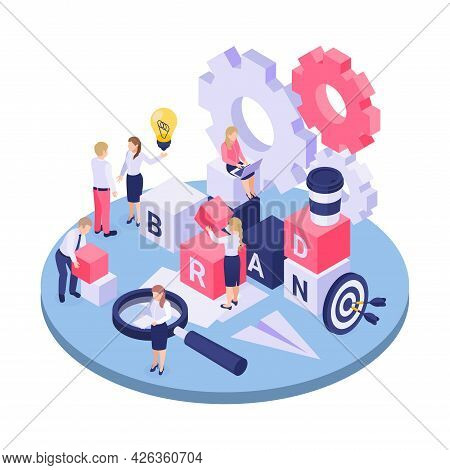 Isometric Concept With Characters Building Word Brand Cogwheel Magnifier 3d Vector Illustration