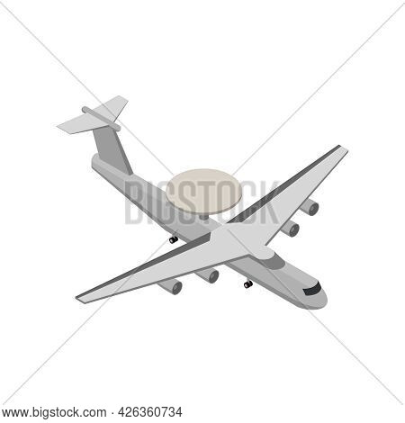 Military Air Forces Isometric Icon With Awacs Plane With Radar 3d Vector Illustration