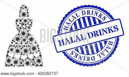 Virus Mosaic Muslim Bride Icon, And Grunge Halal Drinks Seal. Muslim Bride Mosaic For Isolation Temp