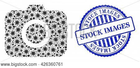 Infection Mosaic Photocamera Icon, And Grunge Stock Images Stamp. Photocamera Mosaic For Medical Ima