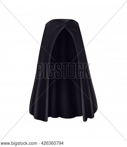 Realistic Black Mantle Front View On White Background Vector Illustration