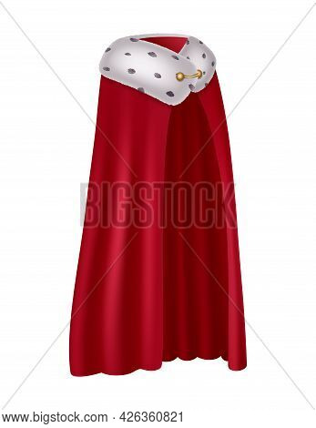 Realistic Red Mantle With Fur For King Or Queen Side View Vector Illustration