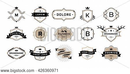 Quality Emblem. Premium Vintage Badges. Luxury Brand Stamps. Graphic Business Logos With Ribbons And