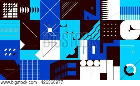 Abstract Square Shapes. Minimalistic Geometric Figures In Brutalism Style. Presentation Layout Desig