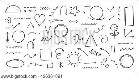 Doodle Hand Drawn Shapes. Marker Freehand Artistic Brush Arrows. Pencil Graphic Direction Signs. Geo