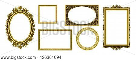 Golden Picture Frames. Vintage Photo Border. Antique Royal Museum Decoration With Luxury Ornament. I