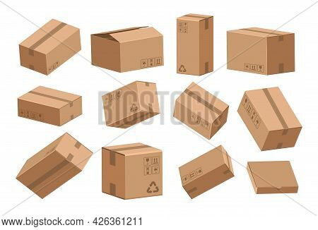 Open And Closed Box. Cartoon Cardboard Containers For Shipping And Storage. View From Different Side