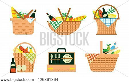 Cartoon Picnic Baskets. Summer Family Weekend Wicker Bags For Food Or Drinks, Blankets And Sport Inv