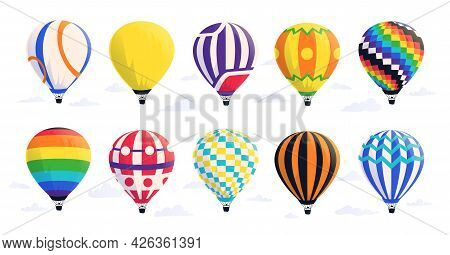 Cartoon Air Balloons. Hot Airship With Baskets And Domes In Sky. Summer Journey And Travel Symbol. F