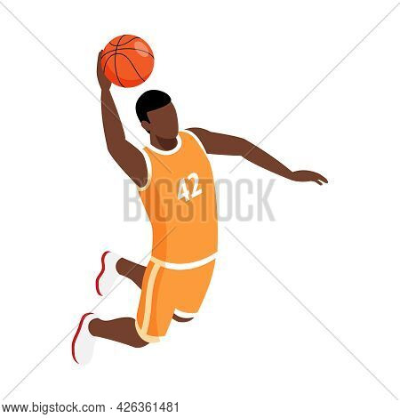 Isometric Icon With Male Basketball Player Making Slam Dunk 3d Vector Illustration