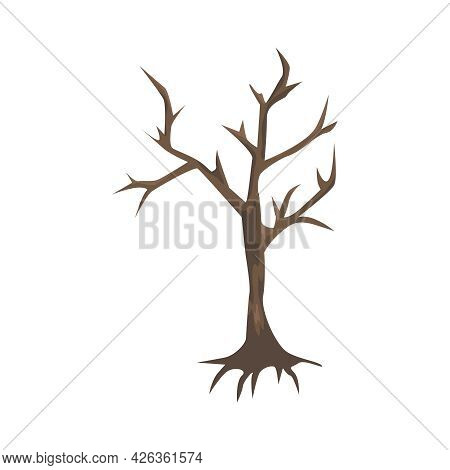 Brown Bare Dry Tree In Cartoon Style For Game User Interface Vector Illustration