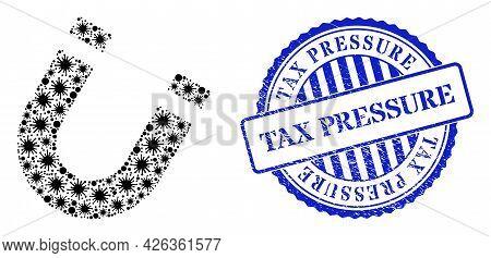 Covid Mosaic Horseshoe Magnet Icon, And Grunge Tax Pressure Seal Stamp. Horseshoe Magnet Mosaic For