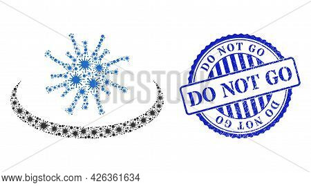 Bacterium Collage Virus Area Icon, And Grunge Do Not Go Seal Stamp. Virus Area Collage For Epidemic