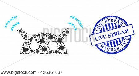 Covid-2019 Collage Robot Radio Signal Icon, And Grunge Live Stream Seal Stamp. Robot Radio Signal Co