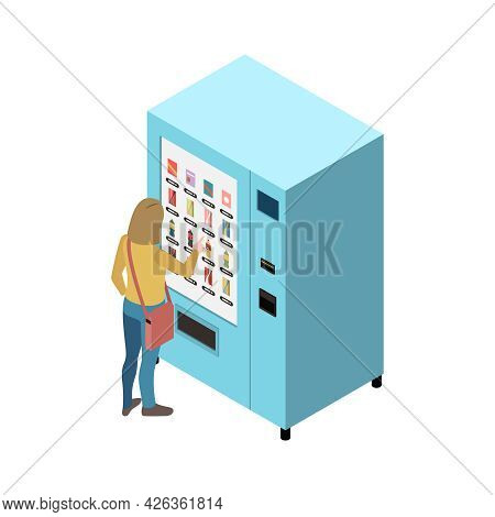 Woman Using Touch Screen Interface Vending Machine With Drinks 3d Isometric Icon Vector Illustration