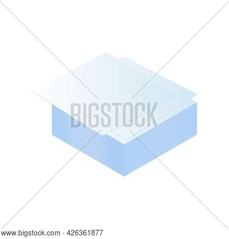 Isometric Stack Of White Blank Papers For Memo Notes Vector Illustration