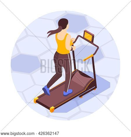 Isometric Round Composition With Woman Running On Treadmill Back View 3d Vector Illustration