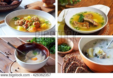Set Of Four Different Savory Soups Cooked With Salmon, Chicken Meatballs,smoked Pork Ribbs And Mushr