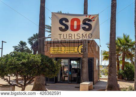 Colonia De Sant Jordi, Spain; July 022021: Tourist Information Office In The Mallorcan Town Of Colon