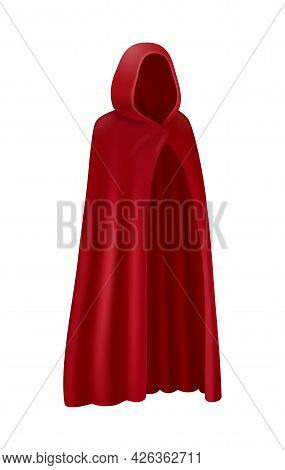 Realistic Red Cloak With Hood On White Background Vector Illustration