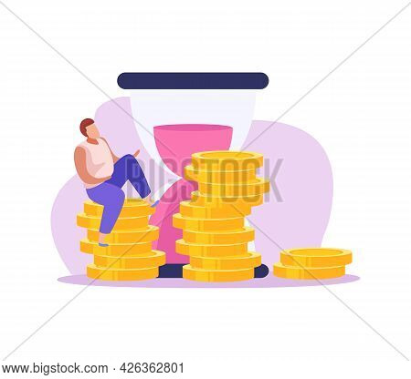 Crowdfunding Flat Icon With Hourglass And Male Character Sitting On Stack Of Gold Coins Vector Illus