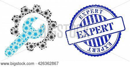 Bacterium Mosaic Repair Service Icon, And Grunge Expert Stamp. Repair Service Mosaic For Epidemic Te