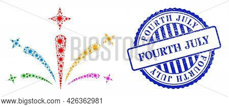 Infection Collage Salute Fireworks Icon, And Grunge Fourth July Stamp. Salute Fireworks Mosaic For M