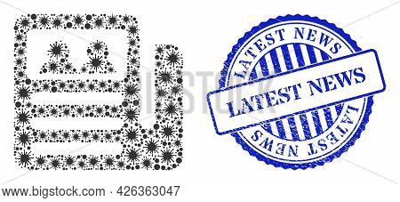 Bacterium Mosaic Newspaper Icon, And Grunge Latest News Seal. Newspaper Mosaic For Isolation Images,