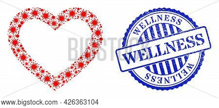 Virus Collage Romantic Heart Icon, And Grunge Wellness Seal Stamp. Romantic Heart Collage For Epidem