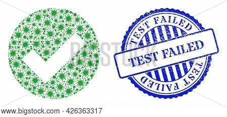 Coronavirus Collage Valid Icon, And Grunge Test Failed Seal. Valid Collage For Epidemic Images, And