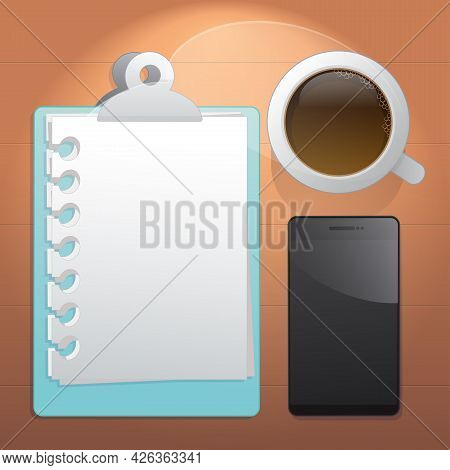 Schedule Plan's Paper, A Cup Of Coffee And Mobile. Top View