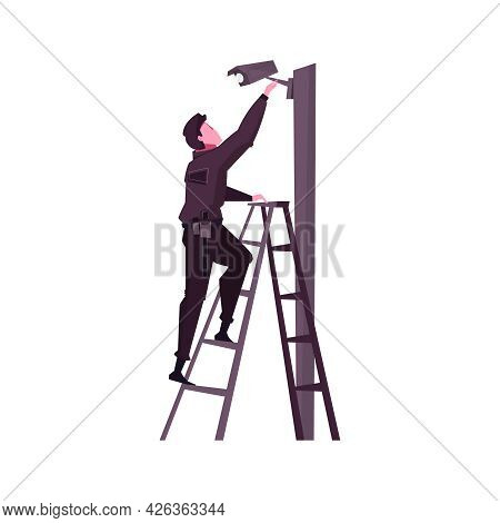 Flat Icon With Security Service Worker Installing Or Checking Surveillance Camera Vector Illustratio