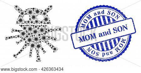 Virulent Collage Virus Robot Icon, And Grunge Mom And Son Seal Stamp. Virus Robot Collage For Medica